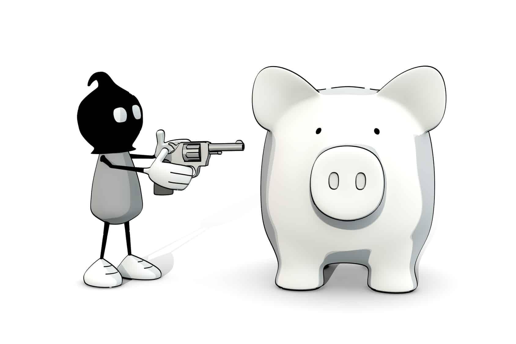 Räuber bedroht Sparschwein mit Pistole