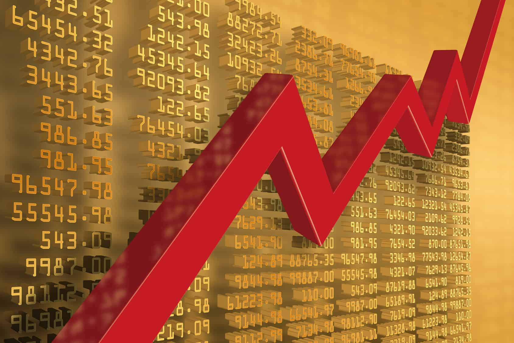 Aufsteigener Chart, als Sinnbild für den Cost-Average-Effekt.