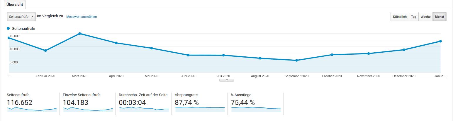 Google Analytics Seitenaufrufe Finanzküche Januar 2020 bis Ende Januar 2021