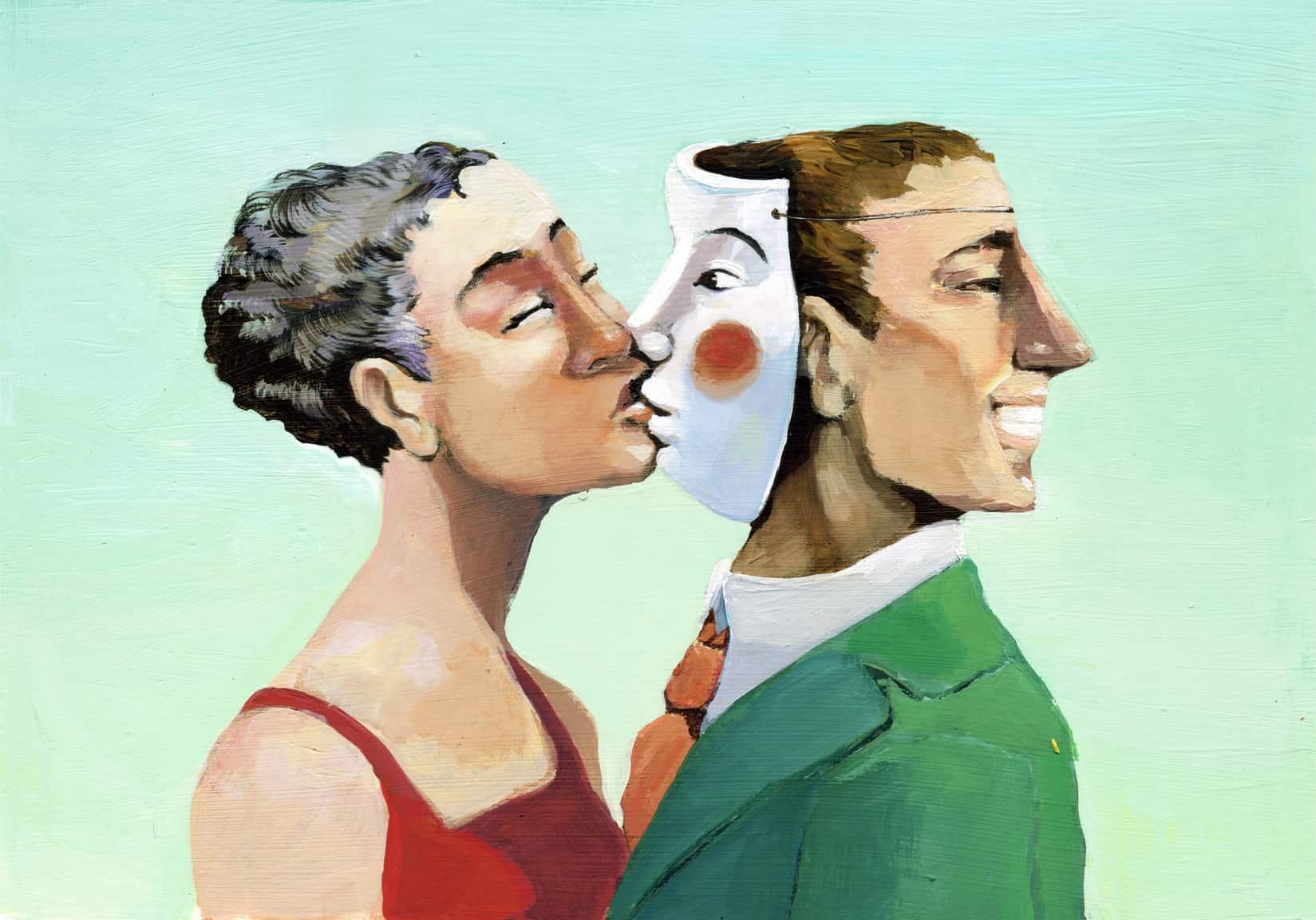Die Illusion der perfekten Geldanlage wird durch eine Frau verkörpert, die einen Mann auf seine Maske küsst.